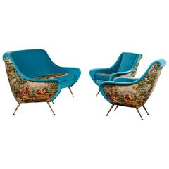 Italian Suite of a Sofa and Two Armchairs