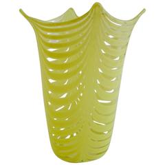 Vibrant Yellow and Clear Glass Vase by Venini