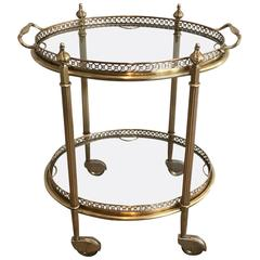 Small French Brass Bar Car with Serving Tray