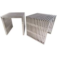 Pair of Milo Baughman Slat Chrome Side Tables