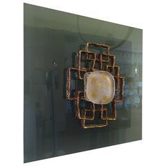 Angelo Brotto Light Panel in Murano Glass and Bronze Relief, Esperia, 1970