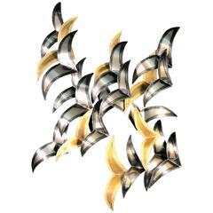 Curtis Jere Flying Birds Mixed Metal Wall Sculpture