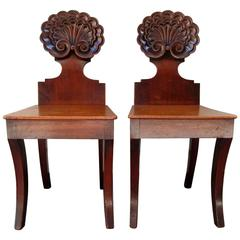 Early 19th Century English William IV Mahogany Hall Chairs Attributed to Gillows