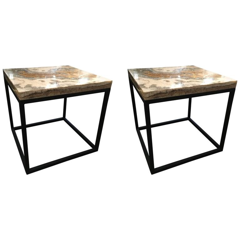 Pair of Marble-Top Square Side Tables For Sale