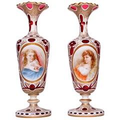 Pair of Bohemian Glass Vases of Beauties
