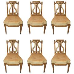 Wonderful Set of Six French Gold Gilt Carved Harp Lyre Back Regency Side Chairs