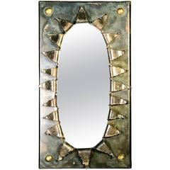 Brutalist Eye Form Mirror in the Manner of Paul Evans
