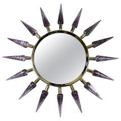 Sunburst Murano Glass Mirror by Régis Royant