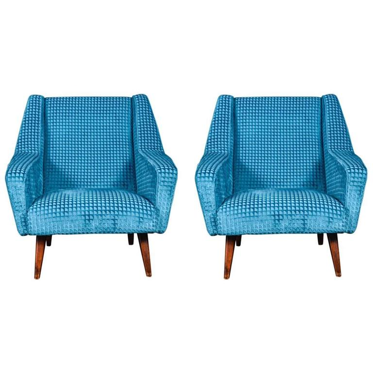 Pair Of Blue Velvet Vintage Armchairs For