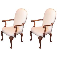Pair of Late 19th Century English Queen Anne Walnut Chairs
