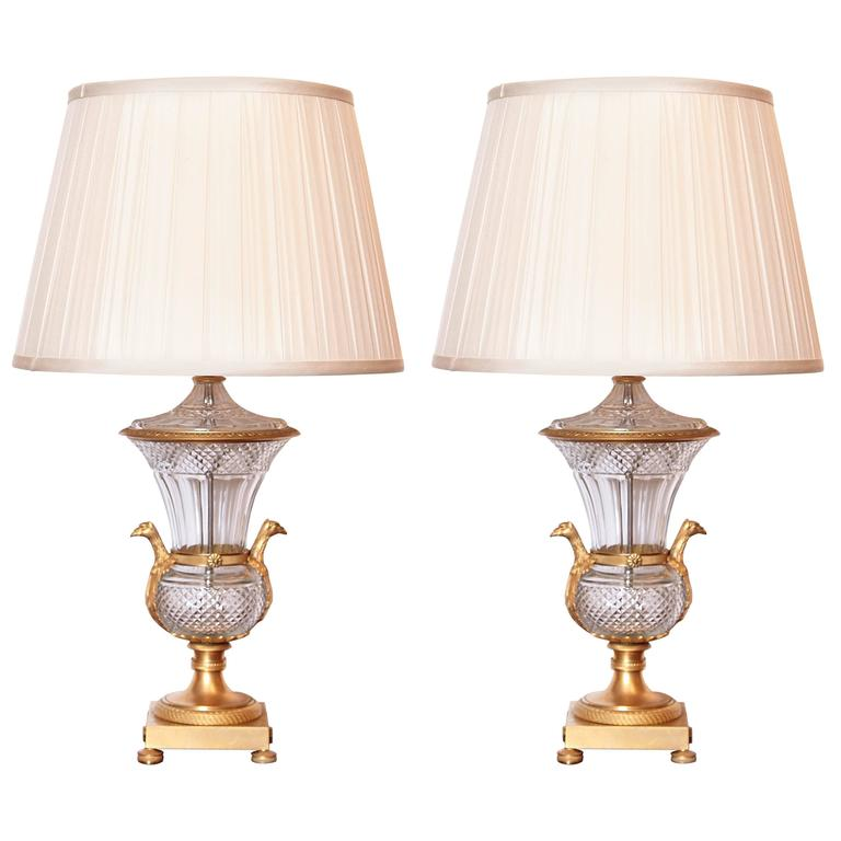 Pair of Empire Period Gilt Bronze and Cut Crystal Lamps