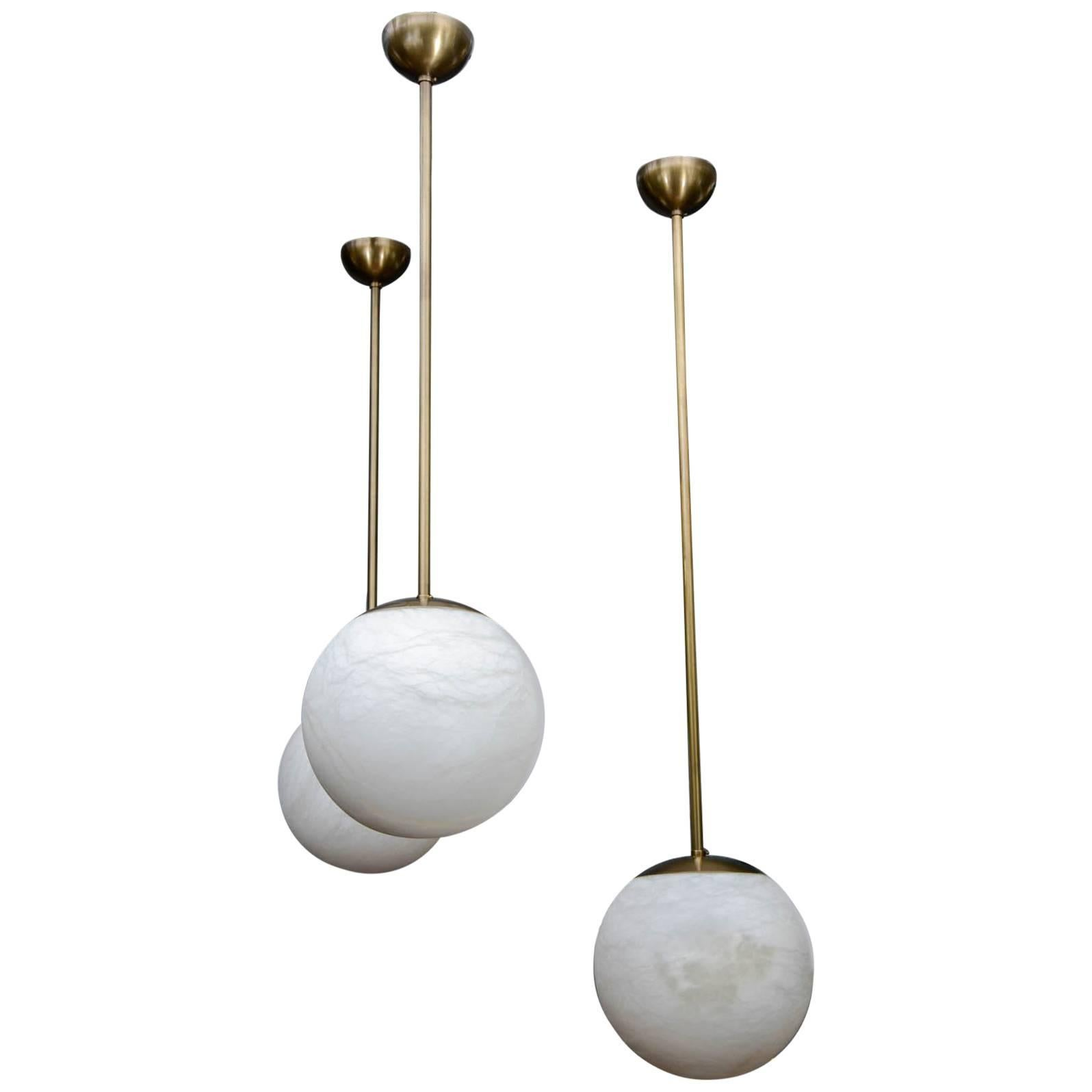 Alabaster and Brass Globes Pendant