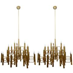 Pair of Tall Impressive Brass Chandeliers by Sciolari
