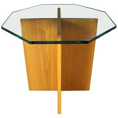 Teak X-Base Octagon Glass Topped Side Table Vintage Scandinavian Modern