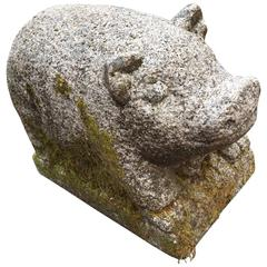 Antique Pig Hand-Carved Stone Plump and Curly Tailed, 100 Years Old