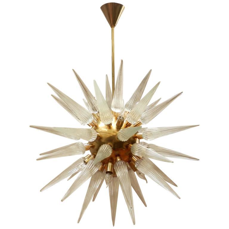 Sputnik Murano Glass Chandelier, Cones with Ridges Brass