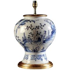 Blue and White Delft Vase as a Lamp