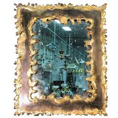 Brutalist Torch Cut Framed Rectangular Mirror in the Manner of Paul Evans