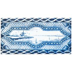 19th Century Delft Blue and White Border Tile with Windmill and Ships