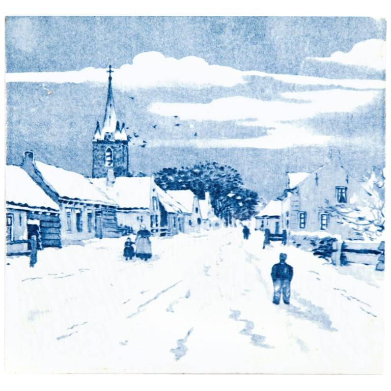 19th Century Delft Blue and White Tile of a Village