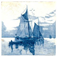 19th Century Delft Blue and White Tile of Ships