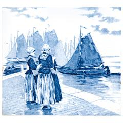 19th Century Delft Blue and White Tile of Two Dutch Women and Ships