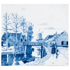 19th Century Delft Blue and White Tile of a Canal and Bridge