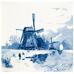 19th Century Delft Blue and White Tile of a Windmills and Ships