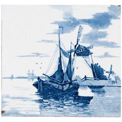 19th Century Delft Blue and White Tile of a Windmill and Ships