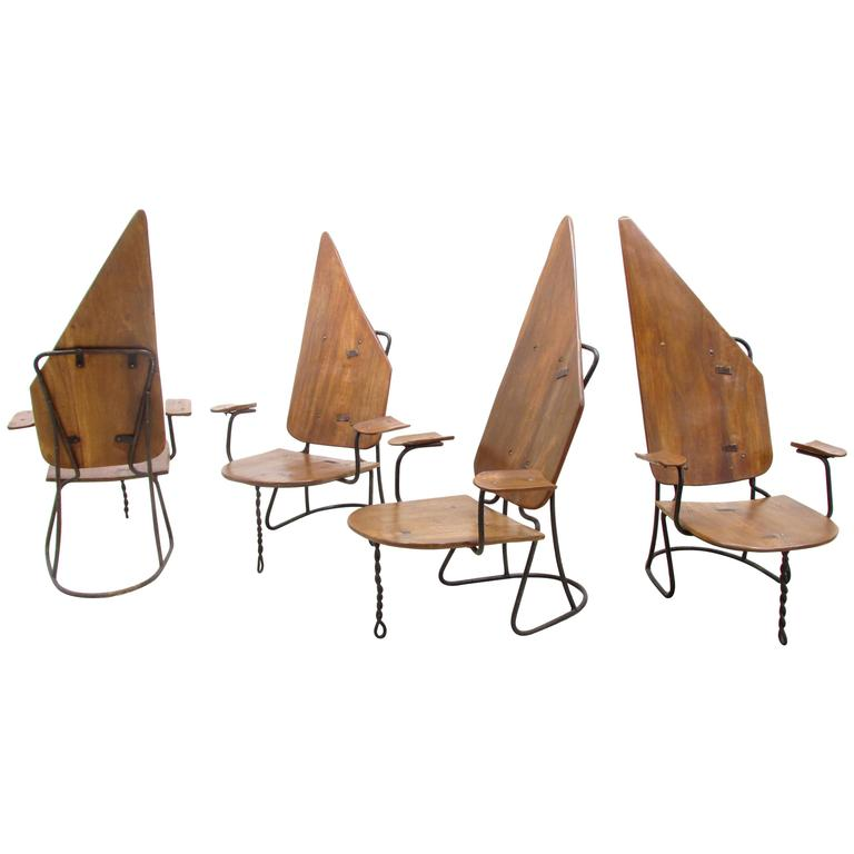 Set of Four California Brutalist Chairs For Sale