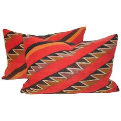 Pair of Early 19th Century Navajo Indian Weaving Bolster Pillows