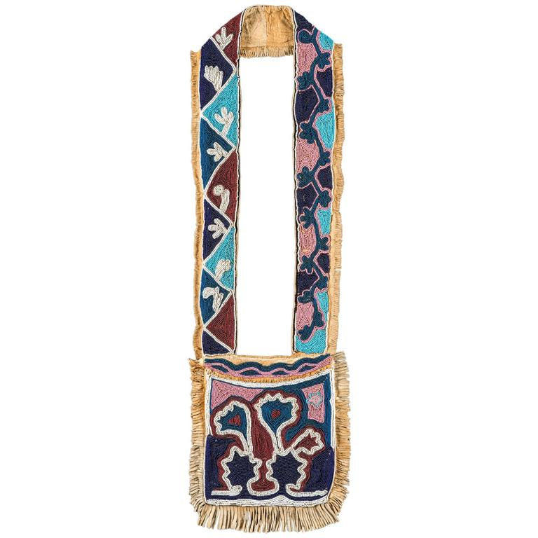 19th Century Native American Oklahoma Territory Bandolier Bag For Sale