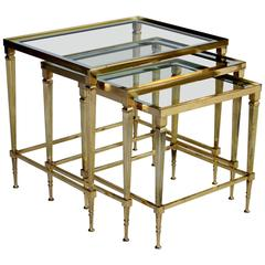 French Mid-Century Brass Nesting Tables