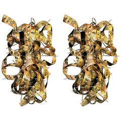 Pair of Fabulous Brutalist Wall Sconces in the Manner of Silas Seandel