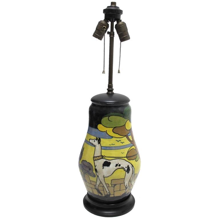 Palatino Art Deco Style Italian Pottery Lamp For Sale