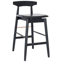 Ebonized Oak, Black Leather, and Copper Wood High Stool