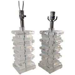 Pair of Glam Mid-Century Modern Karl Springer Style Stacked Lucite Table Lamps