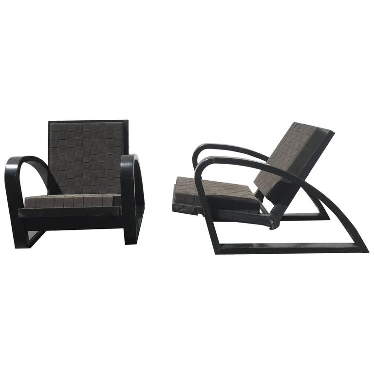Pair of Black 1950s French Low Lounge Chairs