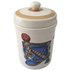 Mid-Century Modern Italian Piero Fornasetti Porcelain Jar Lid