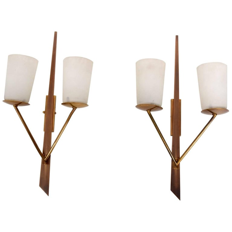 Midcentury Italian Brass and Wall Sconces, 1960s