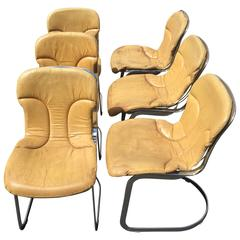 Set of Four Italian Chrome and Leather Chairs Designed by Willy Rizzo