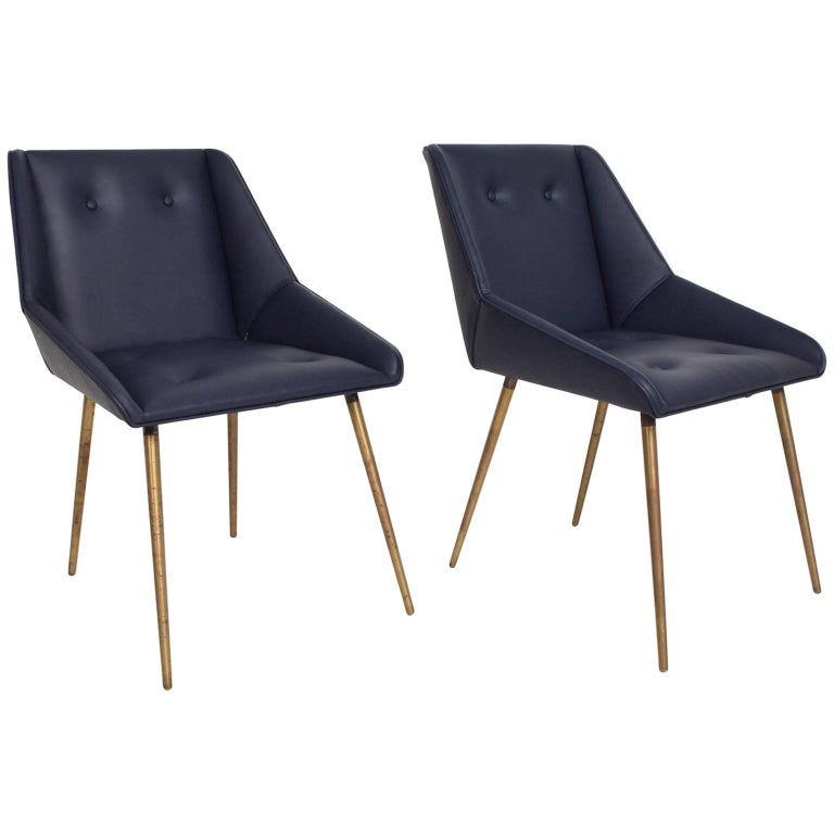 Midcentury Mexican Modernist Leather Chairs in Gio Ponti Style, 1950s