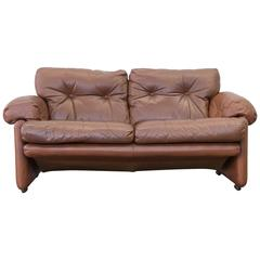 C&B Italia Coronado Fine Leather Two-Seat Sofa by Tobia Scarpa Couch Brown