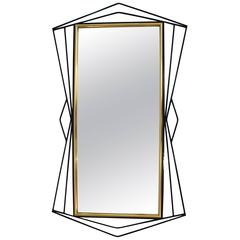Ferrabini Giovanni, Mirror, Gold-Plated Brass and Black Lacquer, circa 1970