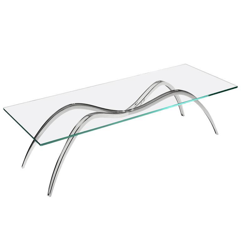 Coffee Table Modern Rectangular Steel Glass Crystal Italian Design