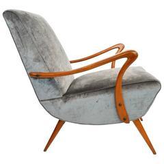 Italian 1950s, Beech and Dark Silver-Grey Velvet Armchair Numbered Reupholstered