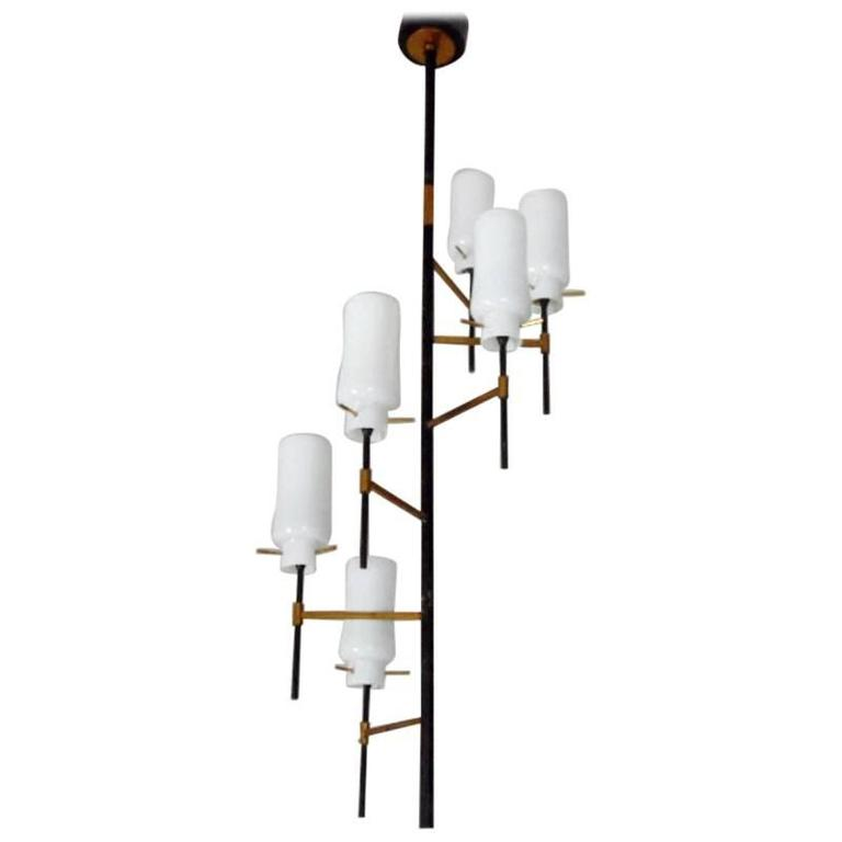 Italian Stilnovo Column Brass Chandelier