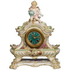 Striking K.P.M. Signed Porcelain Mantel Clock, circa 1880