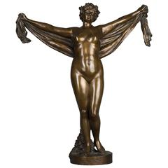 Nice Patinated Bronze of a Nude Female Lady Holding a Scarf, circa 1880