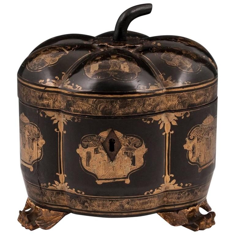 Chinese Lacquer Melon Shaped Tea Chest Tea Caddy